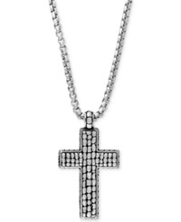 Effy Collection Gento By Effy Men's Decorative Cross Pendant Necklace In Sterling Silver