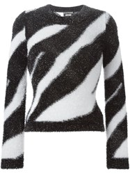 Boutique Moschino Zebra Striped Sweater Black