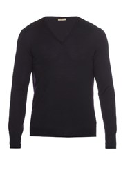 Bottega Veneta V Neck Wool Sweater Navy