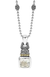 Women's Lagos 'Caviar Color' Pendant Necklace White Topaz