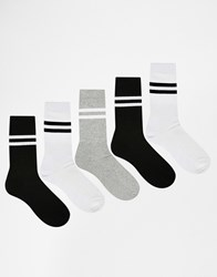 Asos Sports Style Socks 5 Pack In Monochrome White