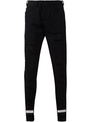 Off White Distressed Stripe Detail Trousers Black