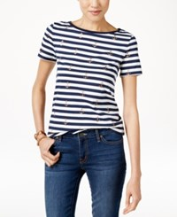Tommy Hilfiger Striped Anchor Print T Shirt Core Navy