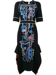 Peter Pilotto Embellished Mid Length Dress Black