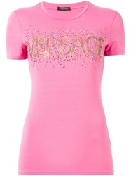 Versace Embellished Logo T Shirt Pink And Purple