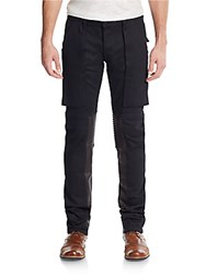 Hudson Anarchy Leather Panel Skinny Jeans Raw Black