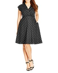 City Chic Cito Chic Retro Chic Spot Dress Black