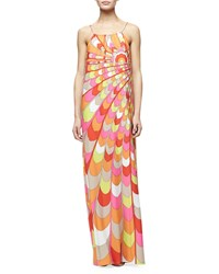 Trina Turk Sleeveless Printed Column Gown Multi Colors Women's