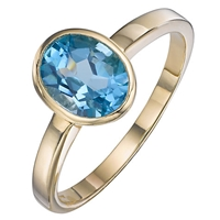 A B Davis 9Ct Yellow Gold Gemstone Oval Ring Topaz