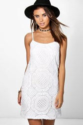 Boohoo Sara Crochet Strappy Midi Dress Ivory