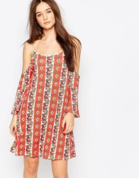 Daisy Street Dress With Cold Shoulder Multi