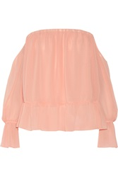 T Bags Off The Shoulder Ruffled Crepe Top