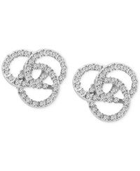 T Tahari Silver Tone Pave Knot Stud Earrings