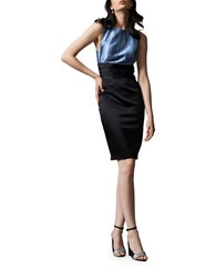 Kay Unger Two Toned Stretch Satin Cocktail Dress Black