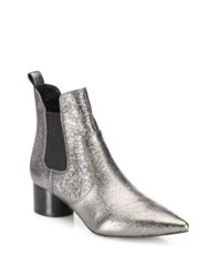 Kendall Kylie Logan Circle Heel Metallic Leather Chelsea Booties Silver