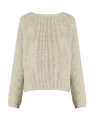 Nili Lotan Annelie Ribbed Knit Cashmere Sweater Light Grey