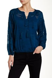 Catherine Malandrino Indigo Embroidered Chiffon Peasant Blouse Blue