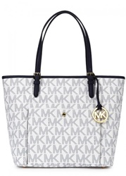 Womens Tote Bags Michael Kors Jet Set Two Tone Monogrammed Leather Tote Navy And Other