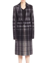 Calvin Klein Leather And Plaid Wool Overcoat Black Multi