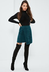 Missguided Blue Cord Side Tie Wrap Mini Skirt Teal