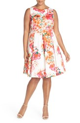 Plus Size Women's Eliza J Floral Cotton Sleeveless Fit And Flare Dress