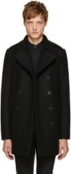 Saint Laurent Black Long Wool Peacoat