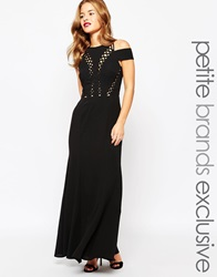 Jarlo Petite Bardot Shoulder Maxi Dress With Cut Out Detail Black