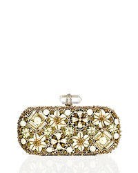 Marchesa Lily Enamel And Crystal Embroidered Clutch Bag Ivory Multi