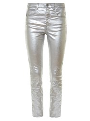Etoile Isabel Marant Ellos Metallic High Rise Skinny Jeans Silver