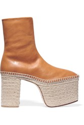 Balenciaga Leather Platform Boots Tan