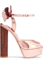 Sophia Webster Raye Bow Embellished Metallic Leather Platform Sandals Pink