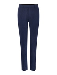 New And Lingwood Burlow Linen Tailored Fit Suit Trousers Blue