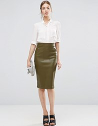 Asos Pu Pencil Skirt With Pocket Detail Olive Green