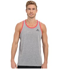 Adidas Ultimate Tank Medium Grey Heather Shock Red Dgh Solid Grey Men's Sleeveless
