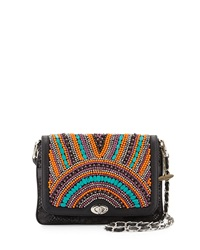 Mary Frances Happy As Can Be Beaded Shoulder Bag Blk Turq O