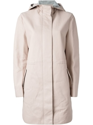 Cedric Charlier Hooded Coat Pink And Purple