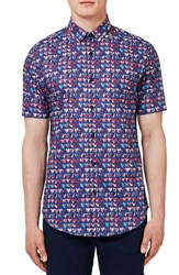 Topman Men's 'Liberty Marble Hearts' Trim Fit Short Sleeve Print Woven Shirt