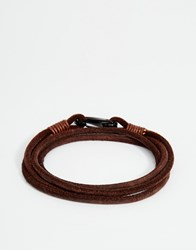 Seven London Leather Wrap Bracelet In Brown Brown