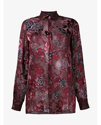 Etro Embroidered Floral Silk Shirt Burgundy White Black Rose