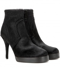 Rick Owens Classic Calf Hair Ankle Boots Black