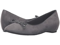 Soft Style Cahill Dark Grey Faux Suede Dark Grey Patent Women's Dress Flat Shoes Gray