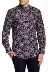 Perry Ellis Print Flower Long Sleeve Shirt Blue
