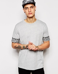 Asos T Shirt With Aztec Sleeves And Relaxed Skater Grey
