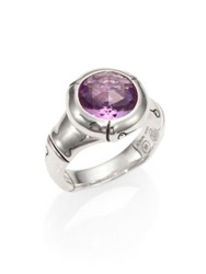 John Hardy Bamboo Sterling Silver Small Round Ring Amethyst Green Amethyst