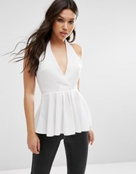 Asos Plunge Halter Neck Top Ivory White