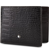 Montblanc Meisterstuck 6Cc Croc Embossed Leather Wallet Mocha
