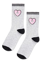 Topshop Sporty Embroidered Heart Socks Grey Marl