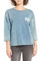 Rvca Women's Campus Logo Sweatshirt Denim Blue