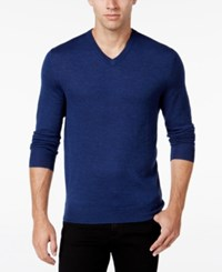 Club Room Men's Merino Wool V Neck Sweater Only At Macy's Crew Blue Heather