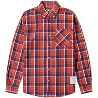 Denim By Vanquish And Fragment Button Down Check Shirt Red